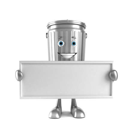 commercial recycling: 3d rendered illustration of a trash can character