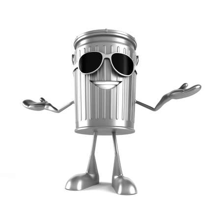 trashcan: 3d rendered illustration of a trash can character