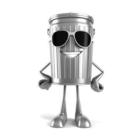 reciclar basura: 3d rindió la ilustración de un cubo de basura carácter