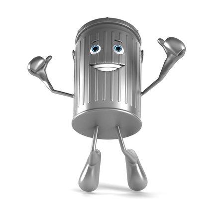 recycle bin: 3d rindió la ilustración de un cubo de basura carácter