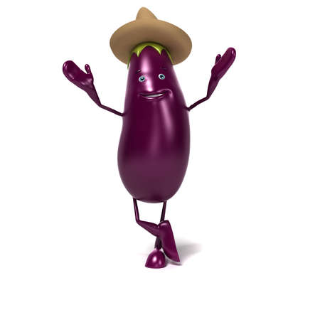 violaceous: 3d rendered illustration of a funny aubergine character