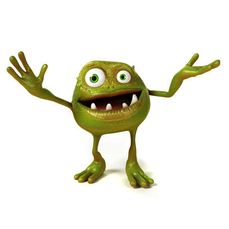 germs: 3d rendered illustration of a funny bacteria toon Stock Photo