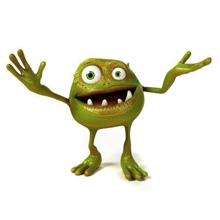 bacterias: 3d rindi� la ilustraci�n de una bacteria toon gracioso