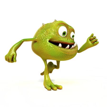 bakterien: 3D gerendert Illustration eines lustigen Bakterien toon