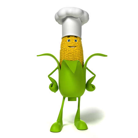 yellow character: 3d rendered illustration of a corn cob character