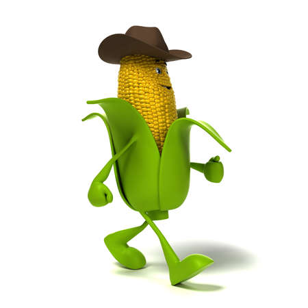 corn cob: 3d rendered illustration of a corn cob character