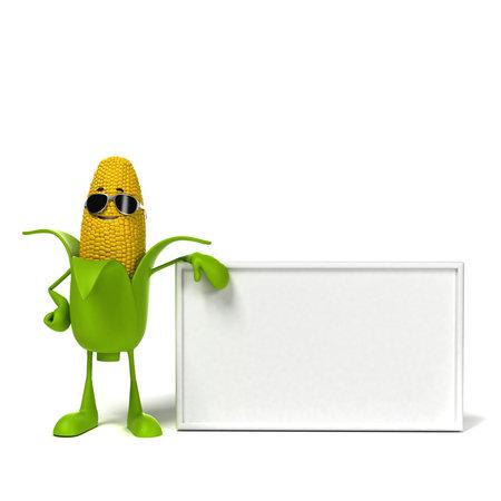 elote: 3d rindió la ilustración de un personaje mazorca de maíz Foto de archivo