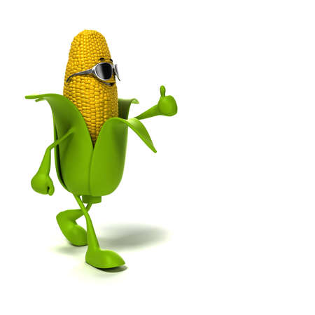 3d rendered illustration of a corn cob character illustration
