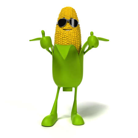 corn on the cob: 3d rendered illustration of a corn cob character
