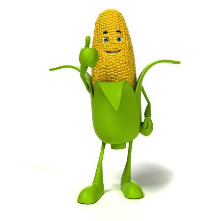 planta de maiz: 3d rindi� la ilustraci�n de un personaje mazorca de ma�z Foto de archivo