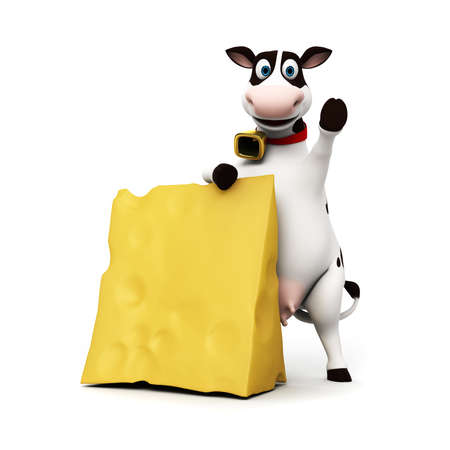 pastoral: 3d rendered illustration of a toon cow