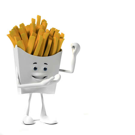 prepared potato: 3d rendered illustration of a french fries character Stock Photo