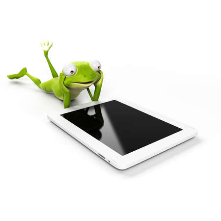 cartoon surfing: 3d rendered illustration of a funny frog Stock Photo