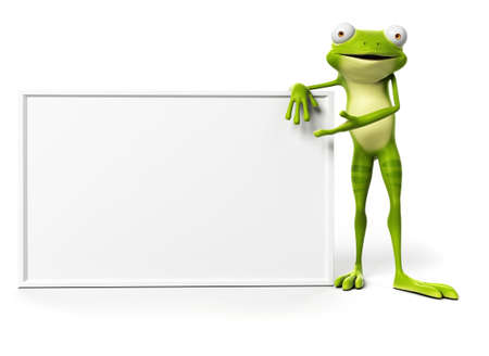 cartoon board: 3d rendered illustration of a funny frog Stock Photo