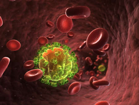 aids cell: 3d rendered illustration - HIV