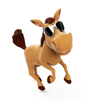 brown horse: 3d rendered illustration of a cute horse