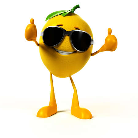 yellow character: 3d rendered illustration of a lemon character