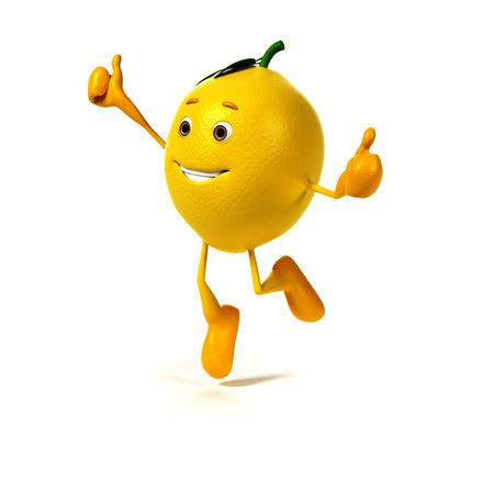 limon caricatura: 3d rindi� la ilustraci�n de un personaje de lim�n Foto de archivo