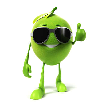 3D glasses: 3d rendered illustration of a lime character