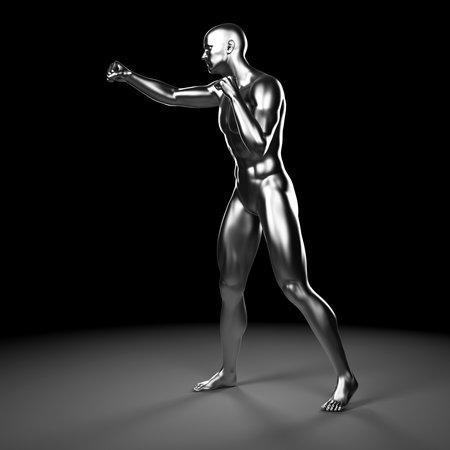 3d rendered illustration - metal fighter illustration