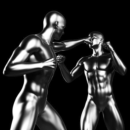 hard alloy: 3d rendered illustration - metal fighter