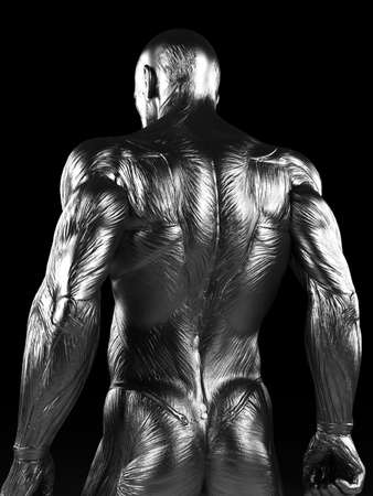 naked male: 3d rendered illustration of a steel muscle man