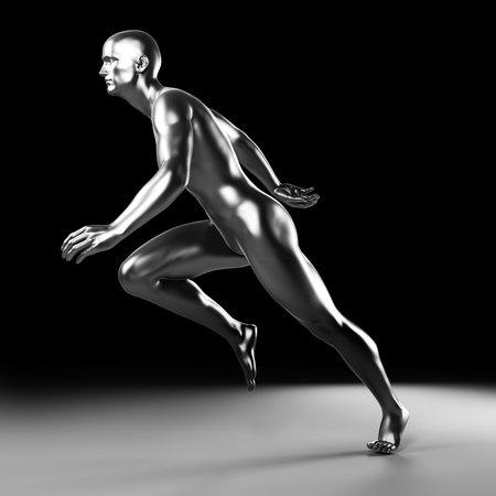 sprint: 3d rendered illustration - metal runner