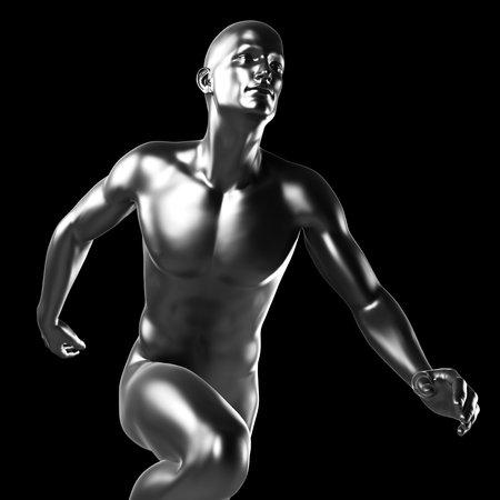 hard alloy: 3d rendered illustration - metal runner