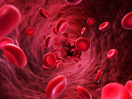blood flow: 3d rendered illustration - blood cells