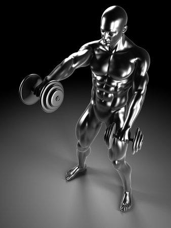 physiology: 3d rendered illustration - metal shoulder workout