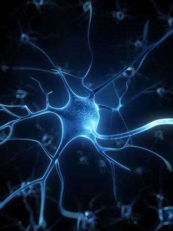 3d rindió la ilustración - célula nerviosa