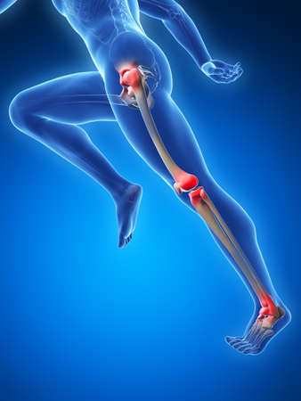 artrosis: Ilustración 3d rendered - dolor en las articulaciones corredor Foto de archivo