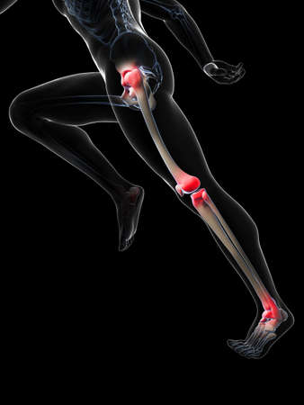 3d rendered illustration - painful runner joints Stock Illustration - 18070637