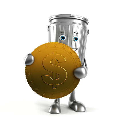 waste money: 3d rendered illustration of a trash can character