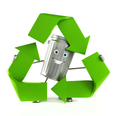 3d rendered illustration of a trash can character illustration