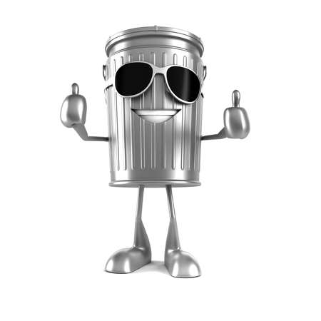 environmental protection: 3d rendered illustration of a trash can character