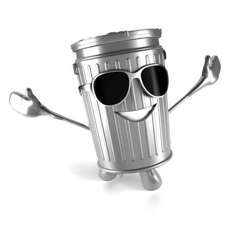 3D glasses: 3d rendered illustration of a trash can character