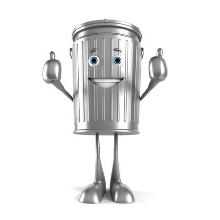 garbage can: 3d rendered illustration of a trash can character