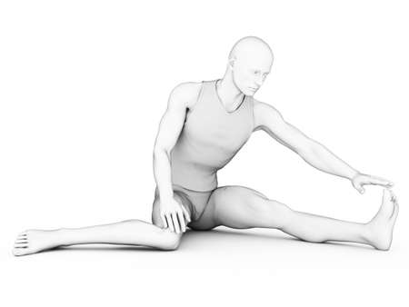 muscle shirt: 3D, blanco, car�cter, macho, hombre, m�sculo, camiseta, top, de pie, posando, caliente, arriba, estirando