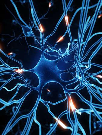 nervios: 3d rindió la ilustración - célula nerviosa