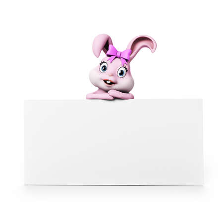 3d rendering of a cute easter bunny photo