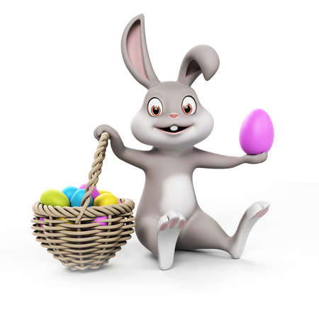 easter basket: 3d rendering of a cute easter bunny