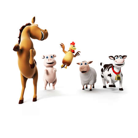 toon: 3d rendered illustration of farm animals