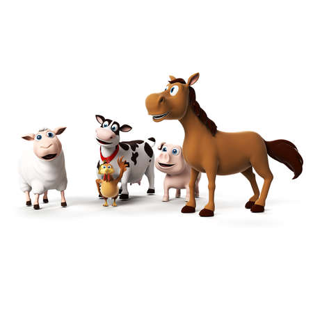 3d rendered illustration of farm animals illustration