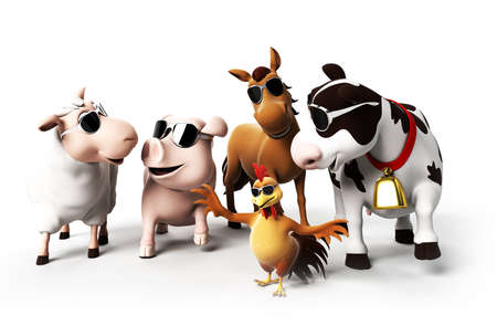 toons: 3d rendered illustration of farm animals