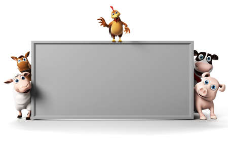 3d rendered illustration of farm animals illustration