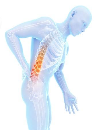 colonna vertebrale: Illustrazione di rendering 3D - mal di schiena maschile Archivio Fotografico