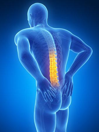 dolor de pecho: Ilustración 3d rendered - macho dolor de espalda