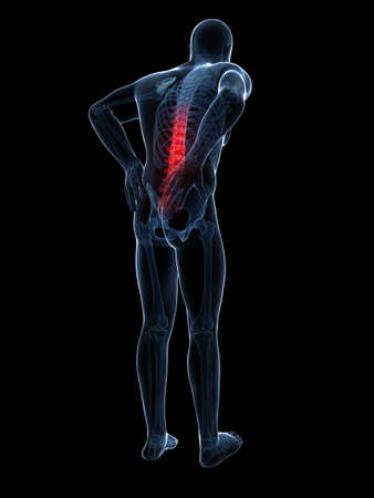 back bone: 3d rendered illustration - backache male