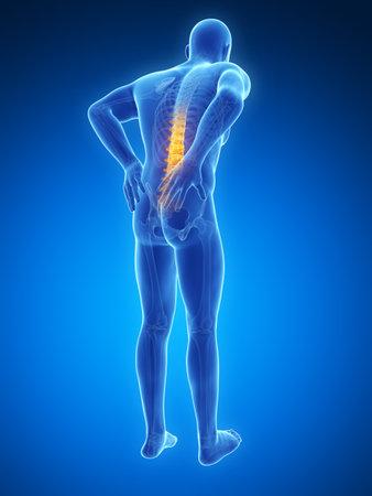 dolor en el pecho: Ilustraci�n 3d rendered - macho dolor de espalda